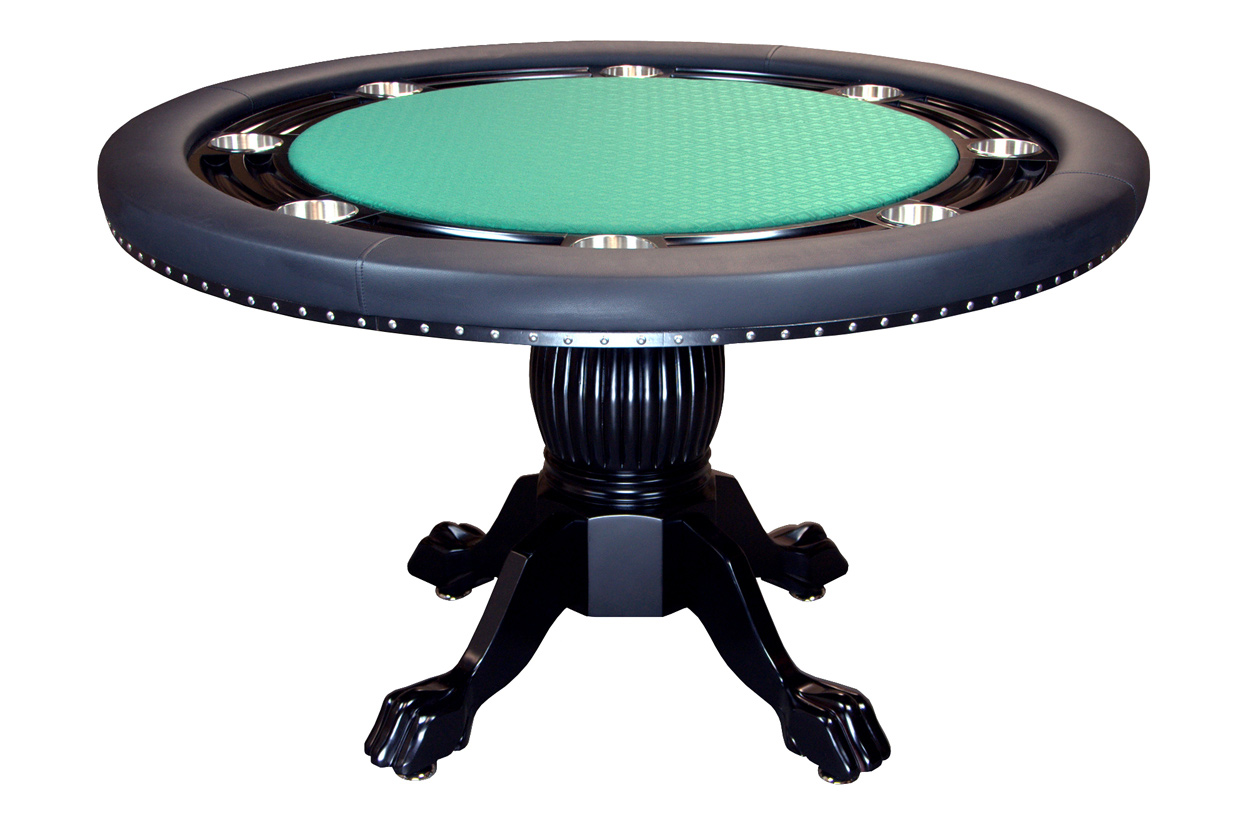 Nighthawk Round Poker Table With 6 Dining Chairs U2013 Green Speed Cloth  Playing Surface